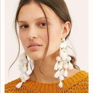 Stella & Ruby White Tassel Earrings